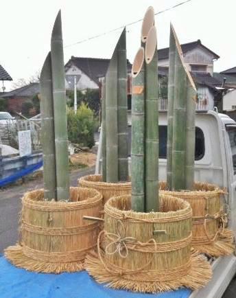門松用の竹と土台の販売
